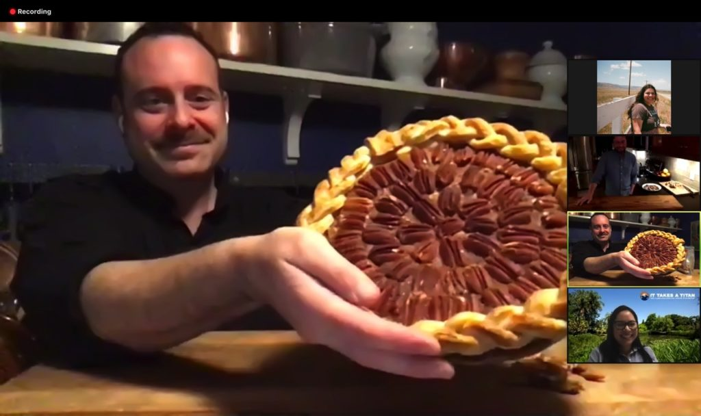 Jonathan Dye proudly holding his maple bourbon pecan pie, which he shared the recipe for.