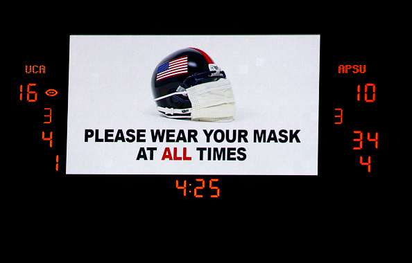 MONTGOMERY, ALABAMA - AUGUST 29:  A sign is seen reminding fans to wear a mask during the second half of the Guardian Credit Union FCS Kickoff football game on August 29, 2020 in Montgomery, Alabama. (Photo by Butch Dill/Getty Images)