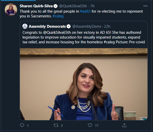 Assemblywoman Sharon Quirk-Silva retweeting the Assembly Democrats as they congratulate her on her victory in Assembly District 65.