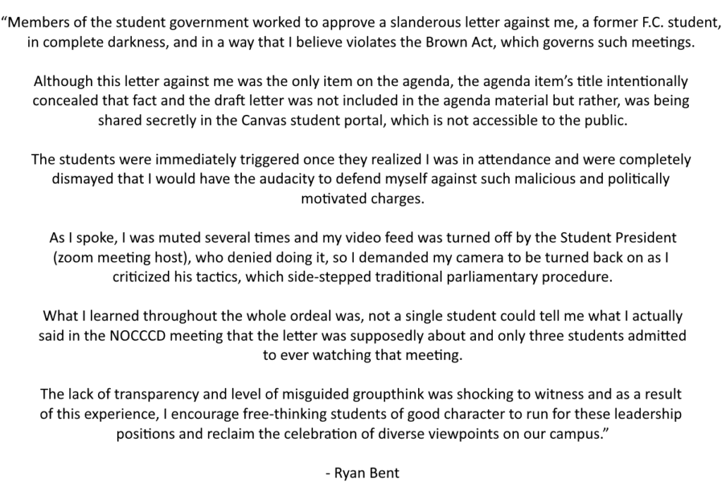 Ryan Bent's full statement on what transpired at the Fullerton College Associated Students meeting on Oct. 27, 2020.