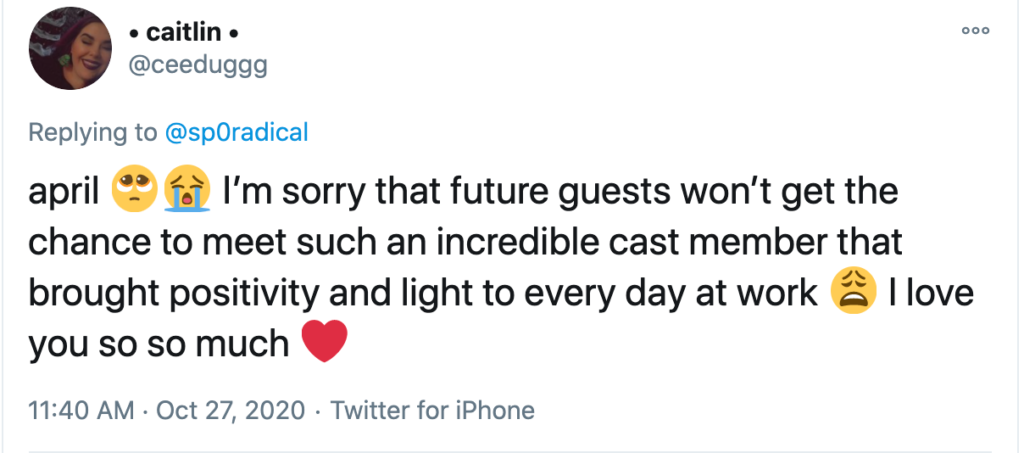 Twitter user @ceeduggg offers her condolences and positive affirmations to a laid-off Disney cast member.