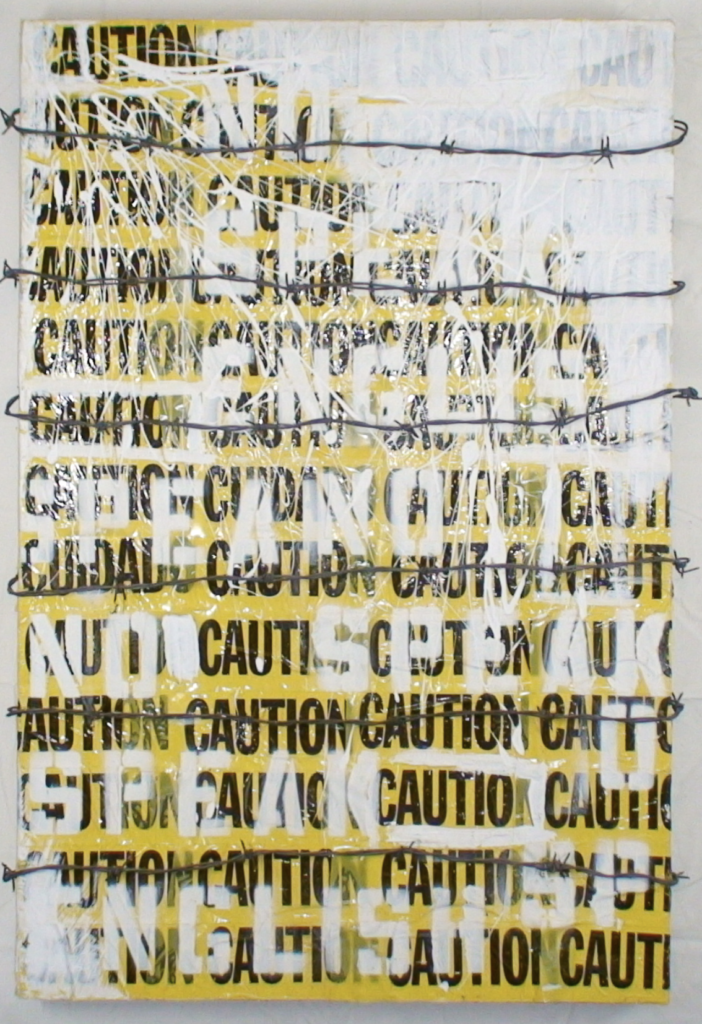 Alberto Lule's work titled CAUTION: NO SPEAK ENGLISH.