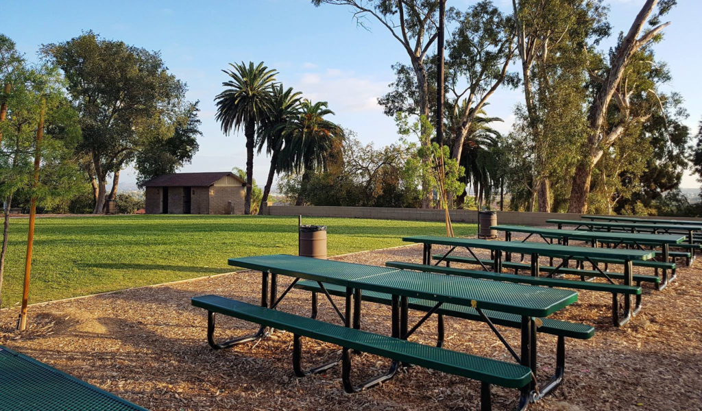 The upper parking lot and picnic area of Hillcrest Park have benches and an open lawn with great views.