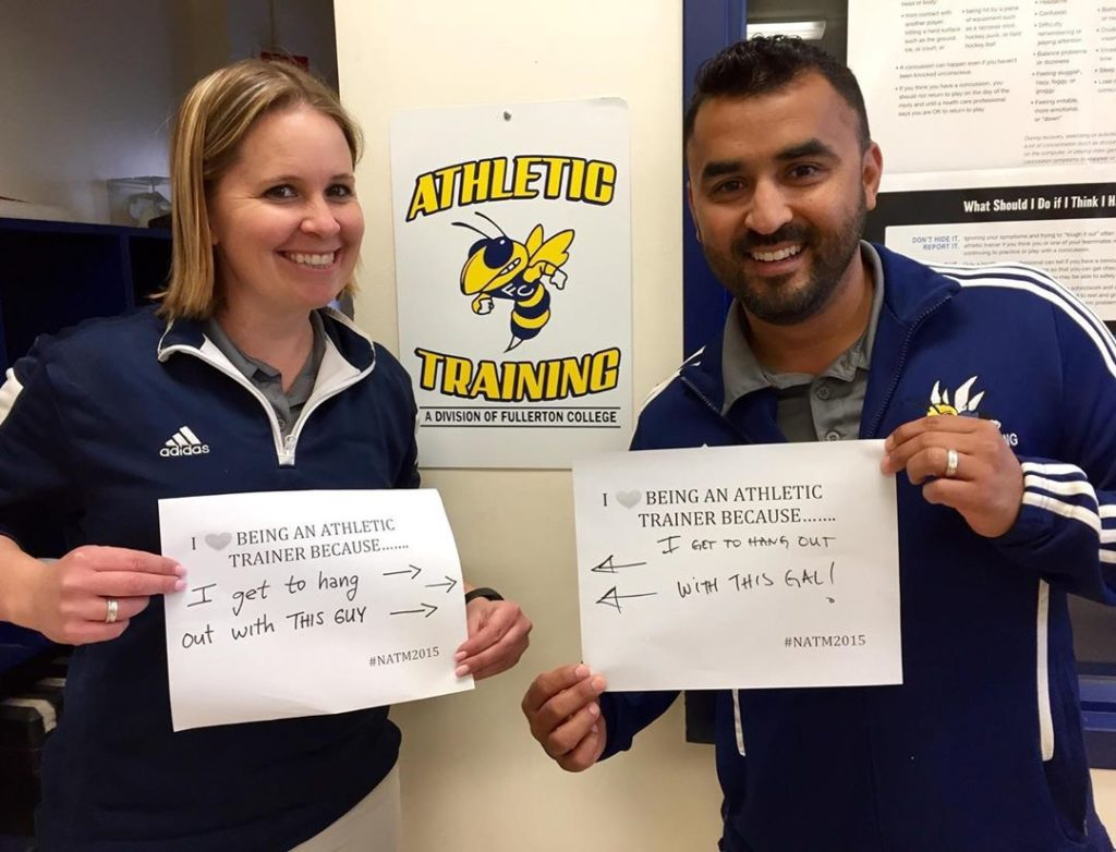 Co-Head Athletic Trainers Lorena Tarnay (left) and Juan Cuevas (right)
