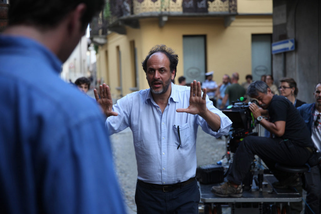 Director Luca Guadagino working on the set of Call Me By Your Name, his most famed work.