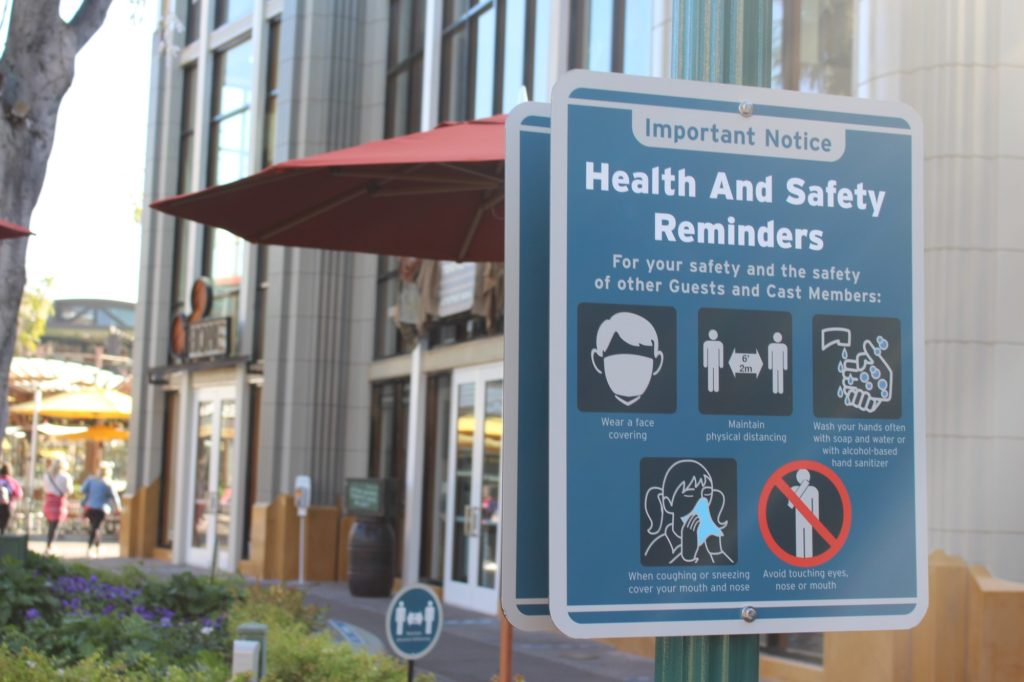 Important notices are placed throughout the Downtown Disney District regarding the safety and health measures Disney Parks is taking for COVID-19 regulations.