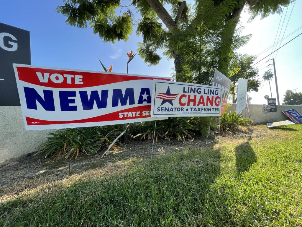 Josh Newman and Ling Ling Chang signs placed near each other as the two battled for State Senate for the third time.