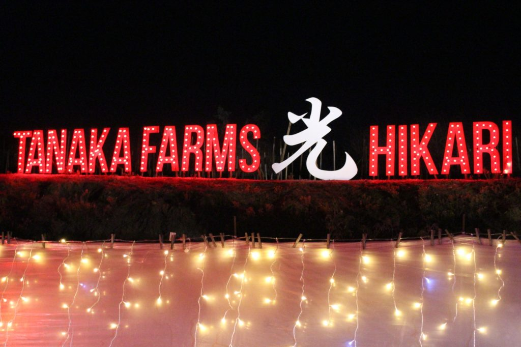 "Light up sign reading, ""Tanaka Farms ... Hikari."""