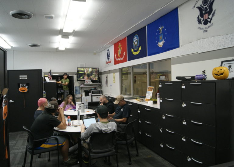 Prior to COVID, veterans were able to socialize inside the Veterans Resource Center.