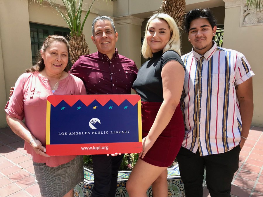 Zoey Luna with her family at the Los Angeles Public Library.
