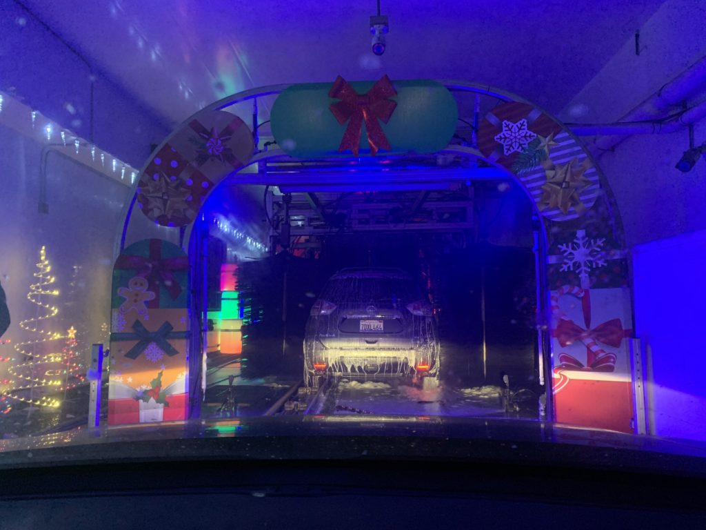 The view upon entering the carwash service at the Winter Wonder Wash experience.