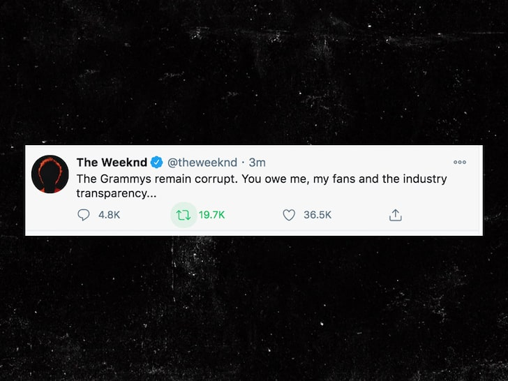 The tweet was up after the Grammys announced the nominees and The Weeknd was deeply upset that he wasn't nominated and took it to the media with this statement.