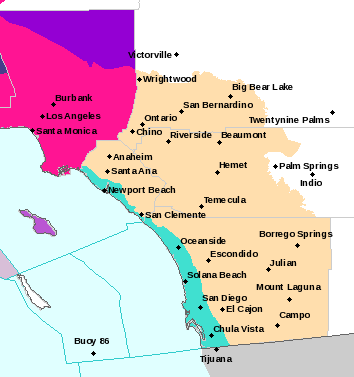 Los Angeles County (purple) gets issued red flag warning for hazardous weather conditions. Orange County (tan) under Fire weather watch.