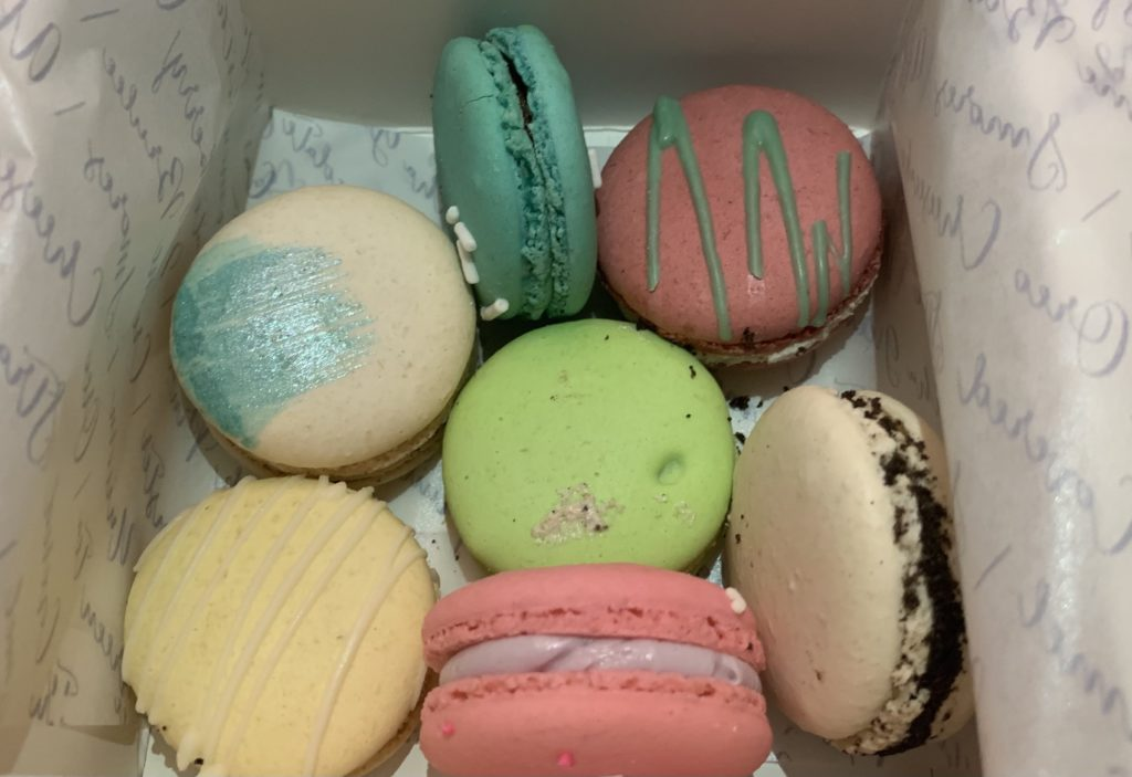 7 different flavored macarons from Kayls's Cake in Fullerton.