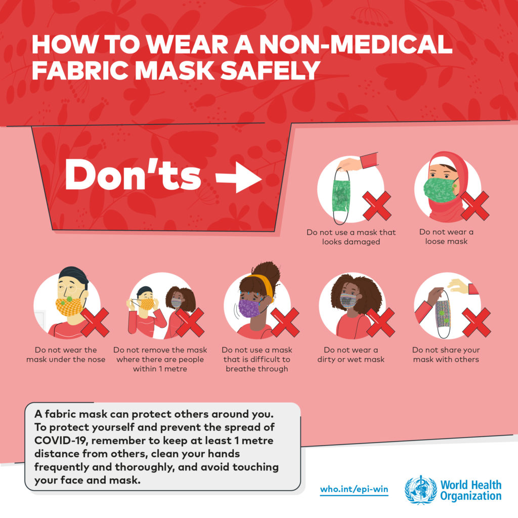 An illustration of what to not do with masks to keep yourself safe.