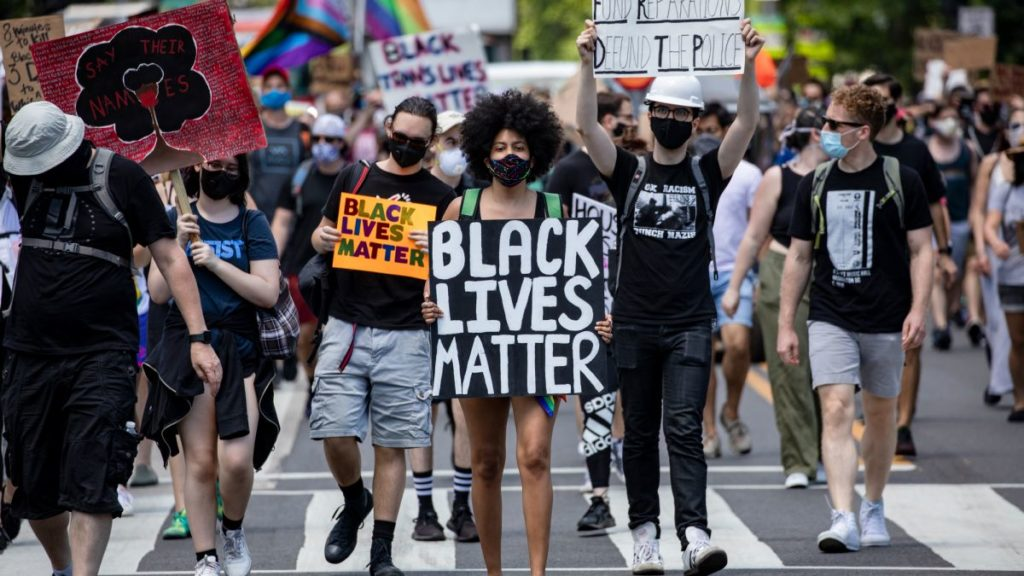 Individuals demonstrating their First Amendment rights at a Black Lives Matter protest in Washington in June 2020.