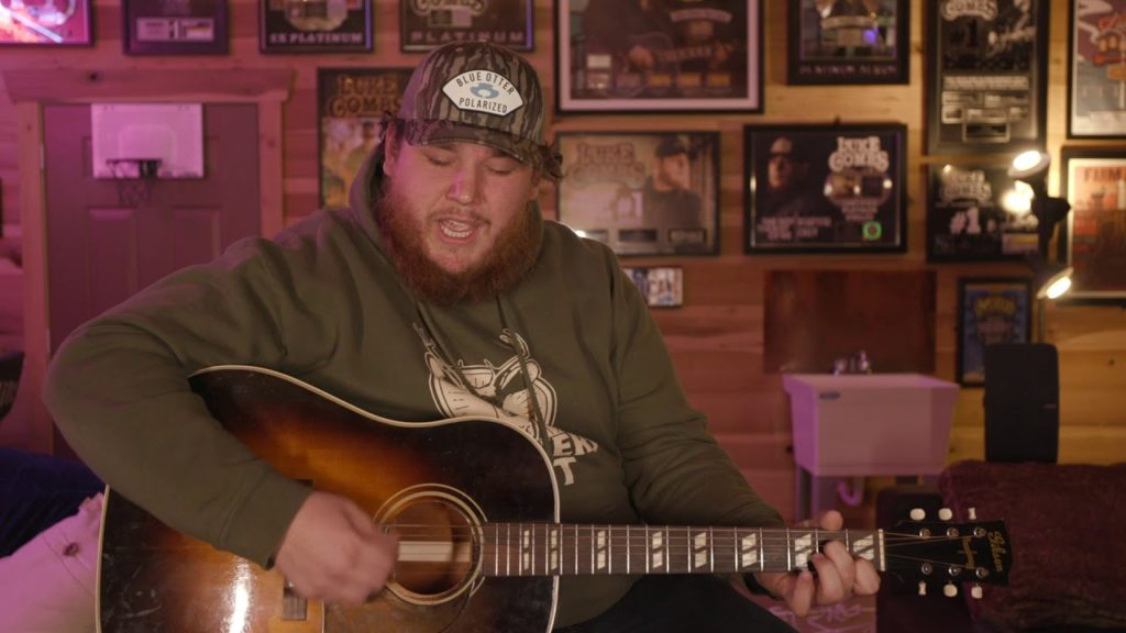 "Luke Combs performing ""Six Feet Apart"" on Youtube."