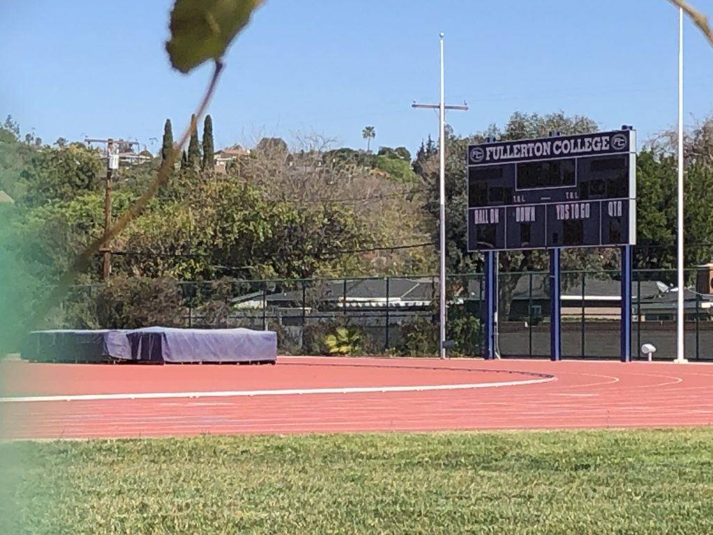 Sherbeck Field, the practice facility for Fullerton College Football and Track and Field, remains empty at the moment with no student-athletes on campus.