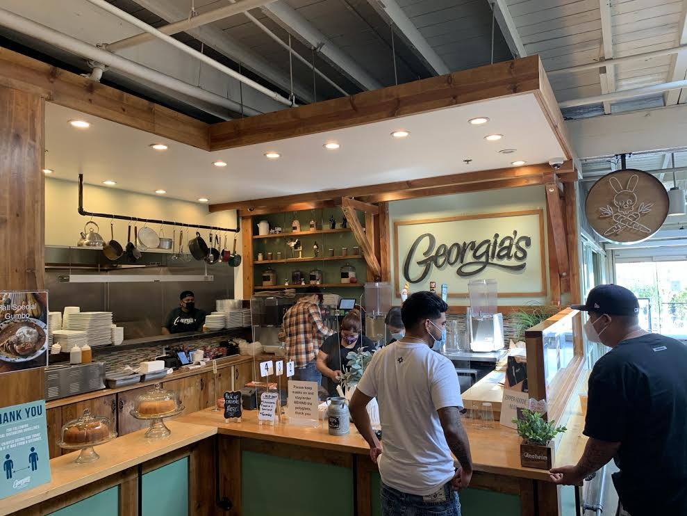 Georgia's is located inside the Anaheim Packing District filled with rustic decor and natural lighting, which makes for a warm and welcoming atmosphere.