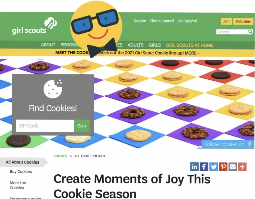The Girl Scouts website helps customers find their nearest cookie seller.