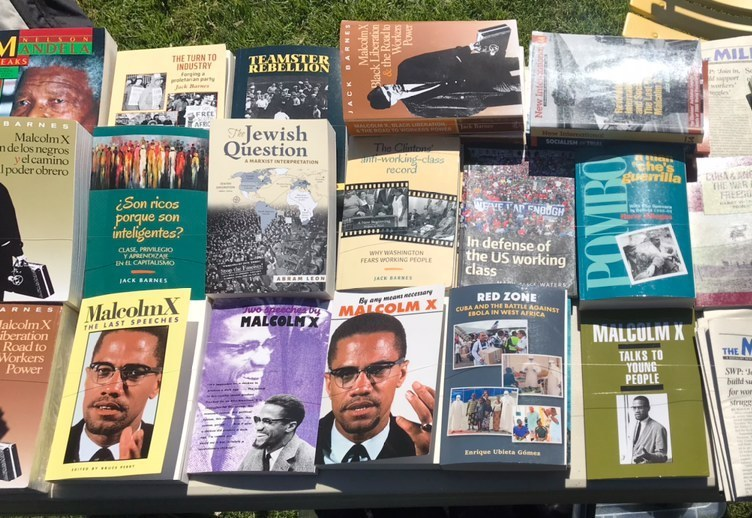 Revolutionary literature books sold by members of the Socialist Workers Party.