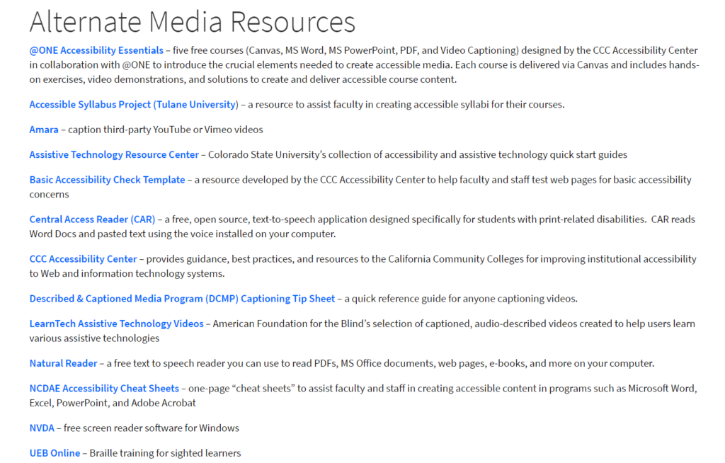 A list of alternate media resources with direct links to helpful websites on the Fullerton College DSS website.