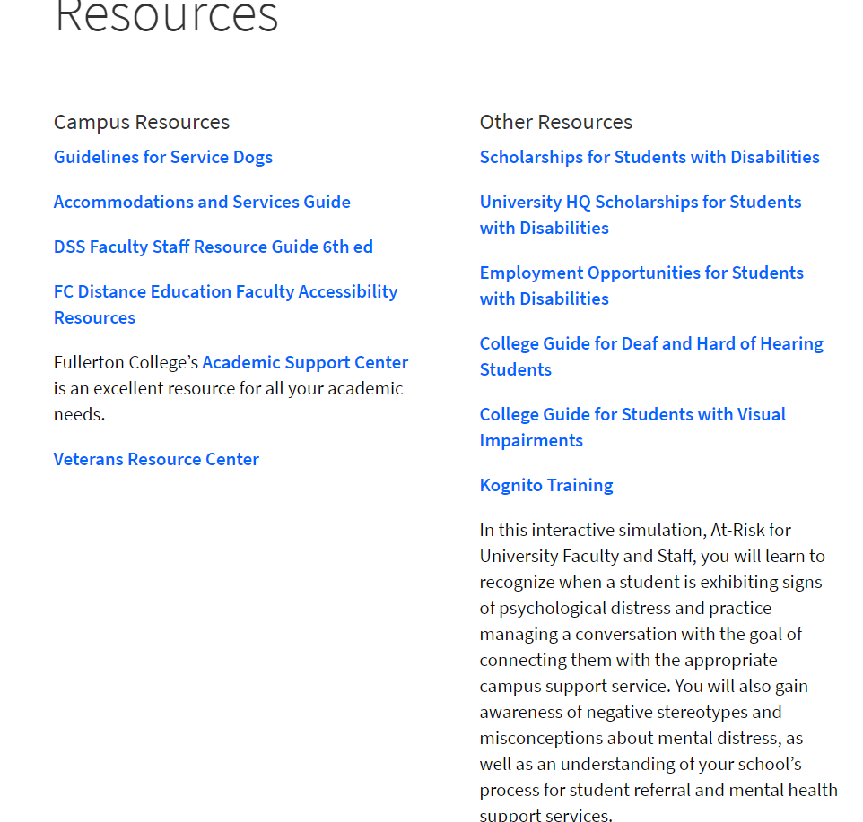 Resources provided on the Fullerton College DSS website that help DSS students outside the classroom.