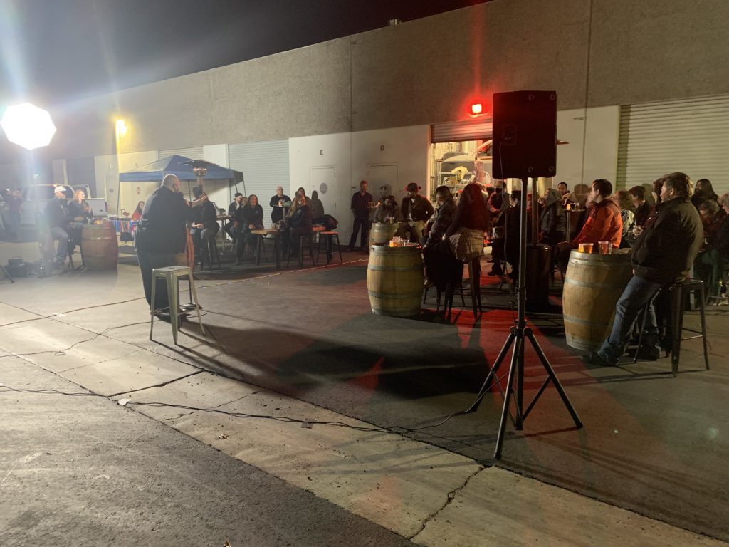 The comedy show was hosted in the back parking lot of Asylum Brewery to maintain social distancing in compliance with CDC guidelines.