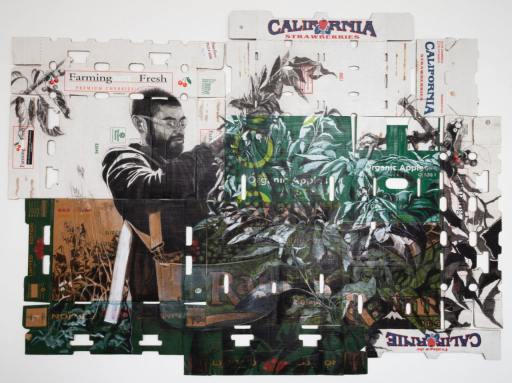 """Well known for his artwork on cardboard boxes, Narsiso Martinez uses ink, charcoal, gouache and matte gel to create, """"Self-Portrait En La Cherry (with Strawberry Fields Forever in the Background)""""."""