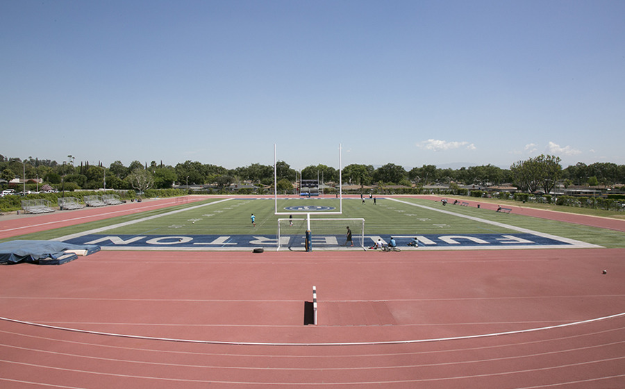 Thanks to funding from the CARES Act, Fullerton College's athletic facilities will once again help student-athletes compete at the highest level. Sherbeck Field will host Track and Field events as well as football practices this spring (picture from 2016).