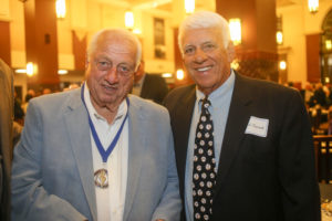 Two baseball greats, Tommy Lasorda and Nick Fuscardo at the Fullerton College Athletic Hall of Fame Ceremony in 2015.