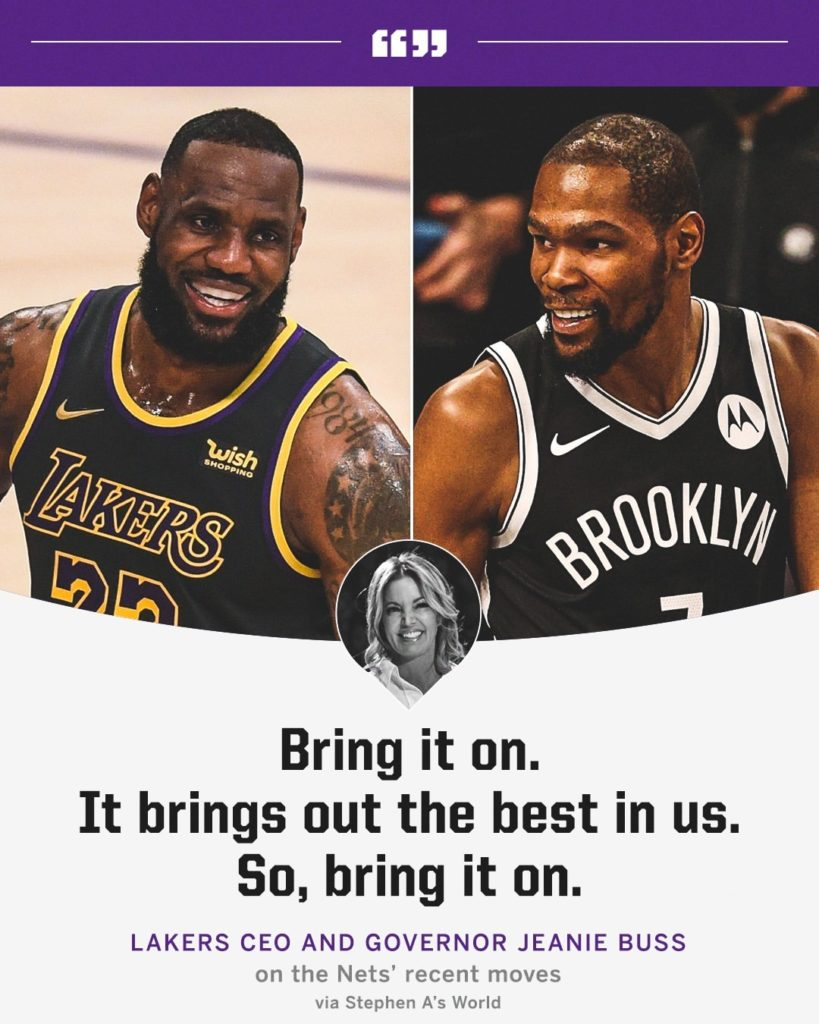 Lakers owner Jeanie Buss is excited about the possible Finals matchup.