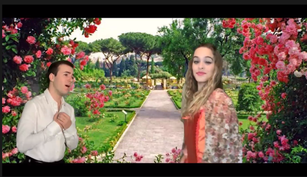 Students from the Fullerton College Opera Workshop performed a duet within a virtual garden.