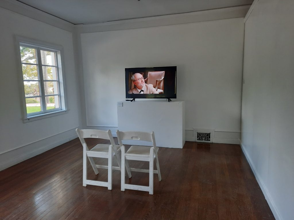 "An empty room with two chairs for viewing the 2005 short experimental film titled ""The Death of Salvador Dali"" on the artist&squot;s encounter with Freud."