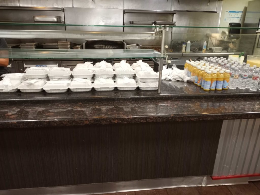 Walk-up view of grab-and-go breakfast in 200 building dining hall on Mar. 26.