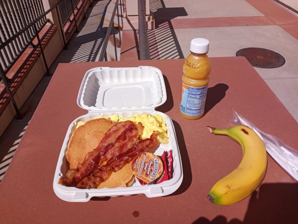 Grab and Go Breakfast served on March 26 at Fullerton College with pancakes, bacon, orange juice and a banana.