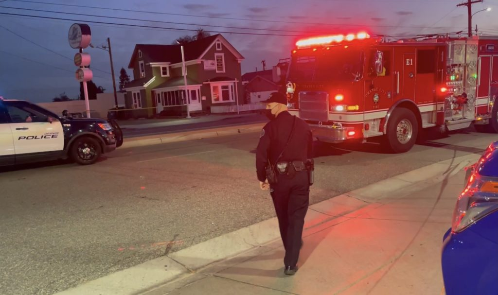 Fire Department and police officers responded to the scene in Orange