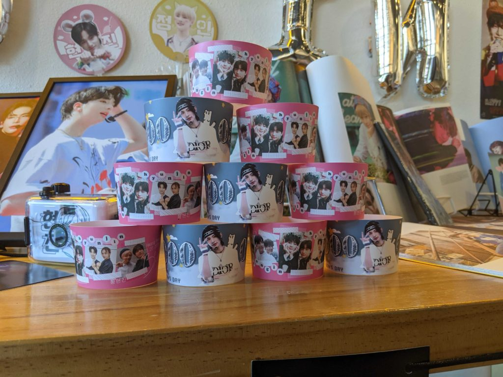 Close up of the cup sleeves featured at Heere Tea.