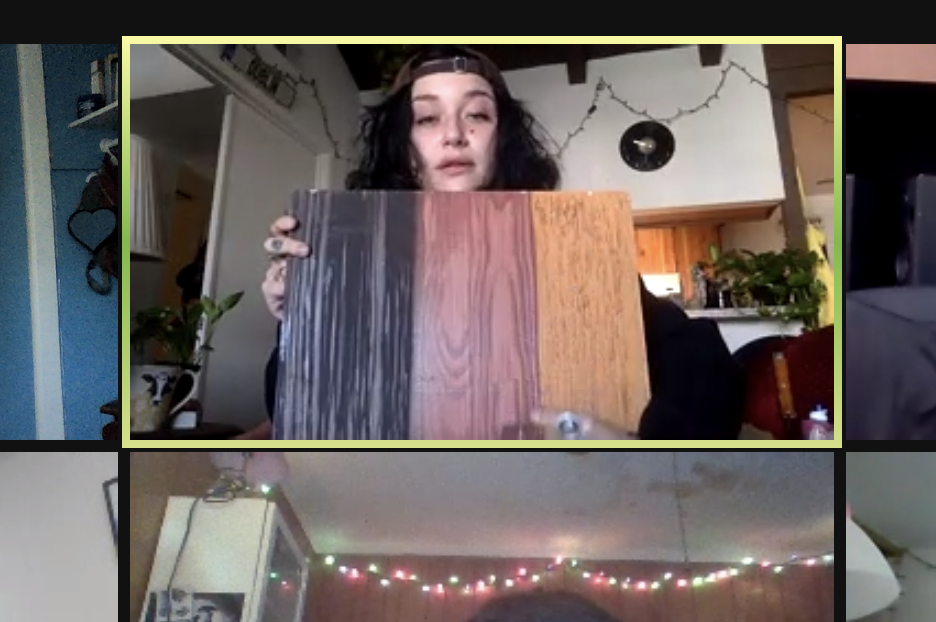 Scenic artist Erica Jackson showed off different types of wood grain used for painted sets in her workshop Paint Like a Pro.
