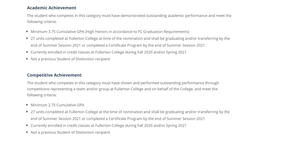Requirements of two of the sections for the scholarship/