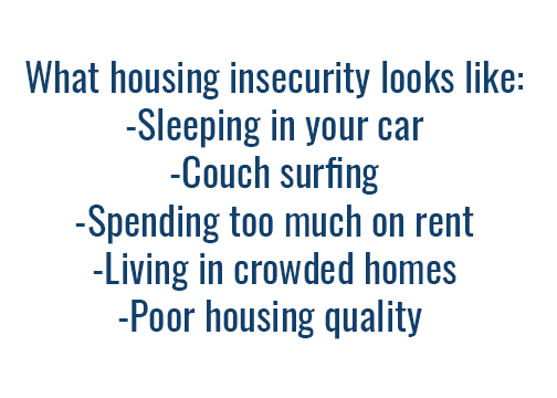 A list of what qualities define housing insecurity.