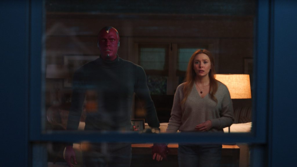 Wanda and Vision hold hands, and share a moment in Fridays final episode of WandaVision.