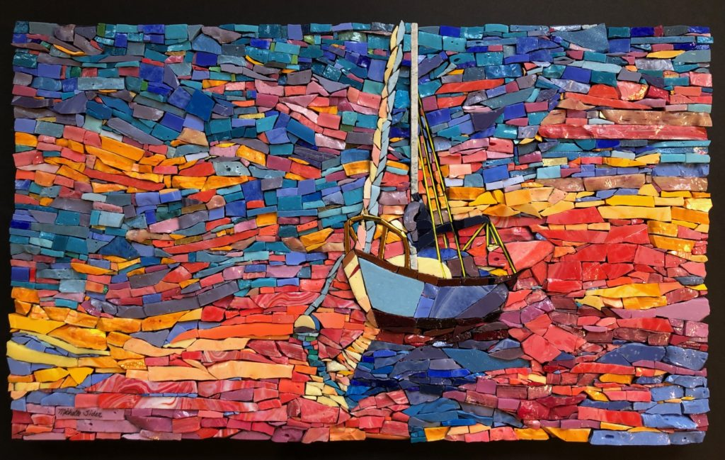 Sider creates colorful 3-D mosaics like this one from sourced glass all over the world.