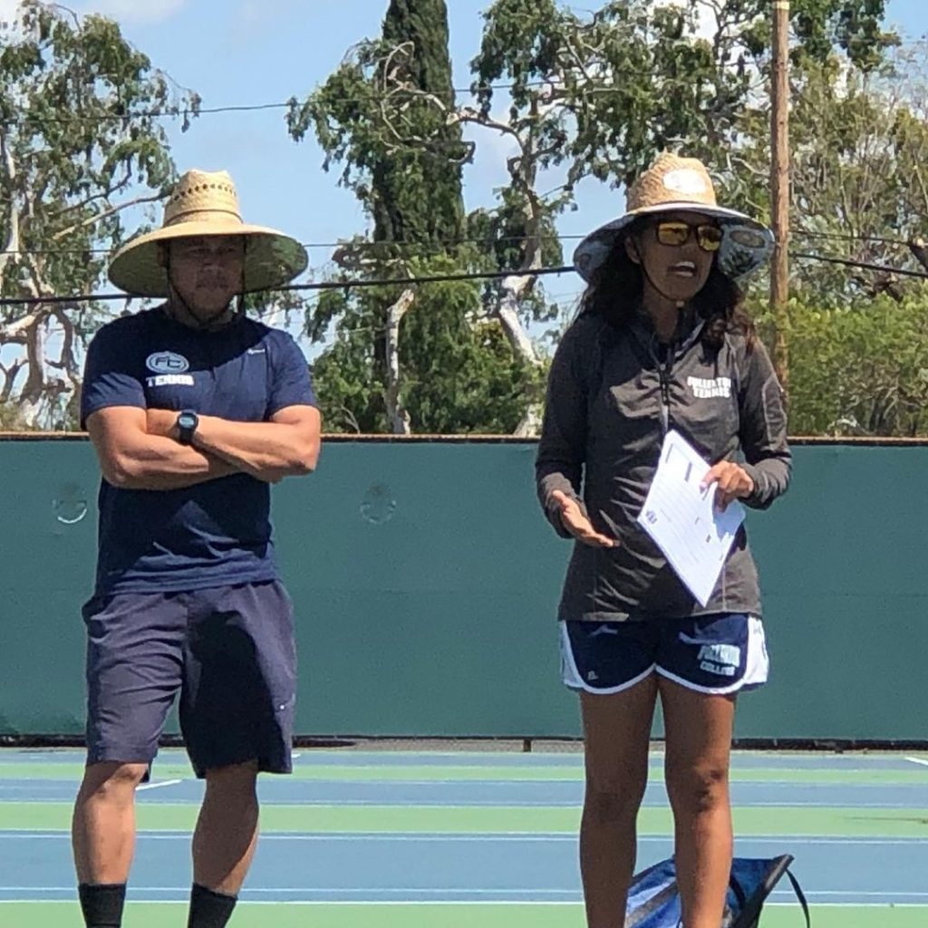 Head Coach Yolanda Duron (right) and Assistant Coach Jon Neri (left) worked to keep student-athletes prepared for competition despite lockdown restrictions for almost a year.