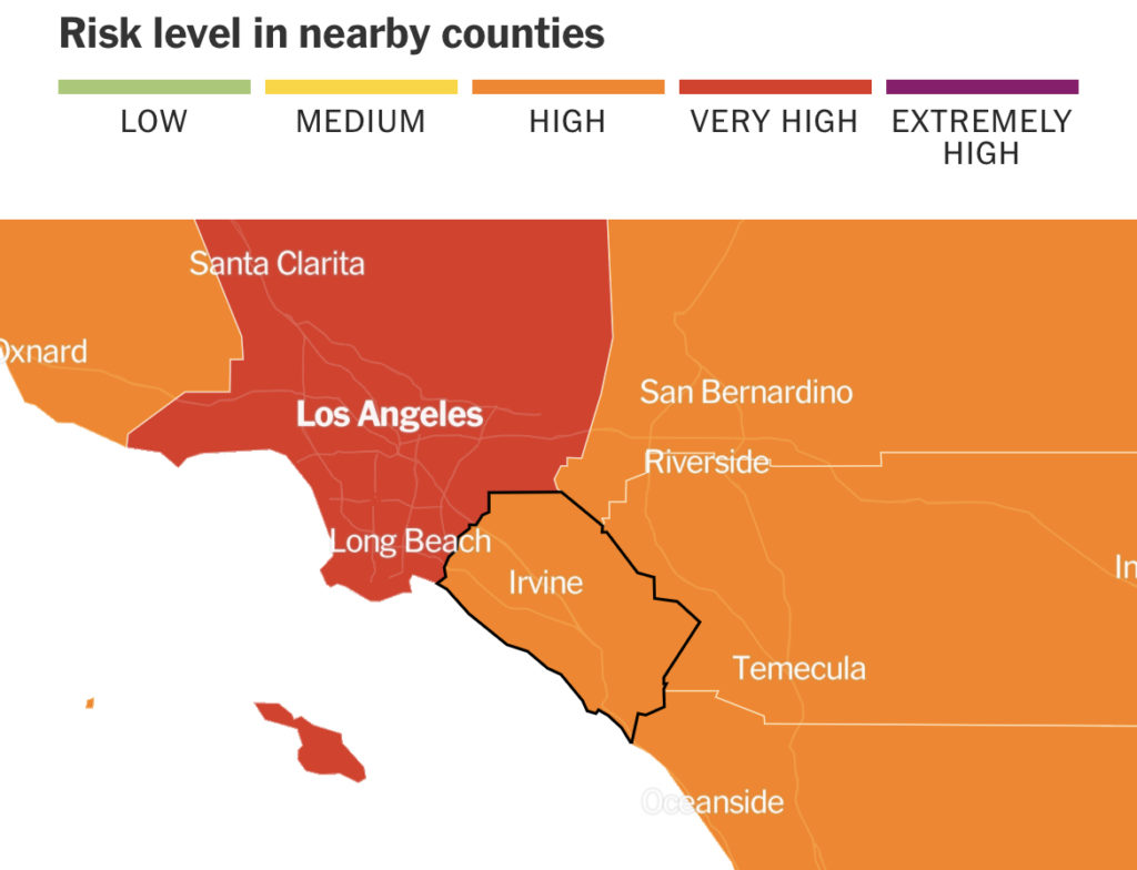 Los Angeles, San Bernardino and Orange County are all making the move into the red tier as the risk of COVID-19 begins to drop
