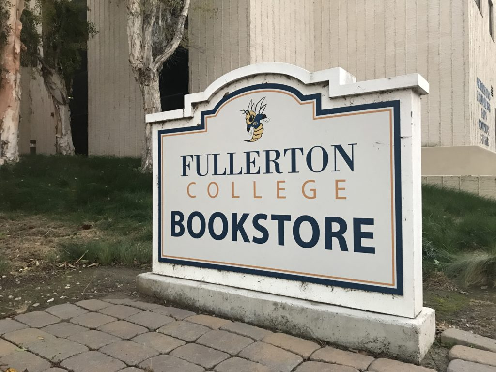 Registered students can rent books and supplies through the Fullerton College Library and pick them up on campus.