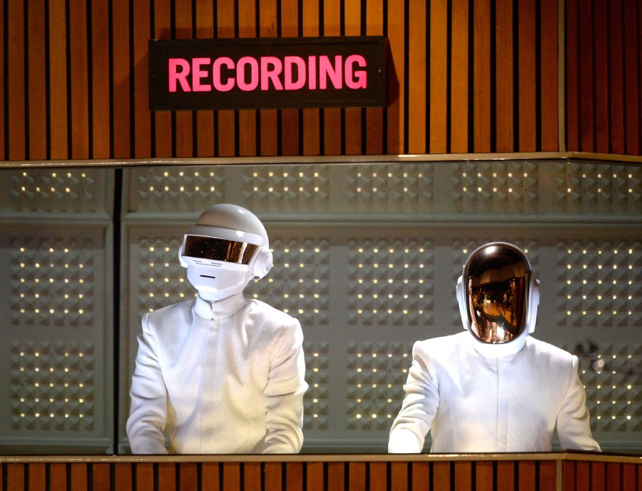 Daft Punk at the 56th GRAMMY Awards at Staples Center in Los Angeles, California.