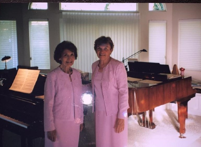 Dorothy Griffith (left) and Donna Webber (right) were the first female professors to be hired by the Fullerton College Music Department.
