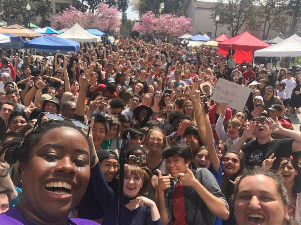 Theatre students from over 60 California high schools take a group photo during the opening ceremony.