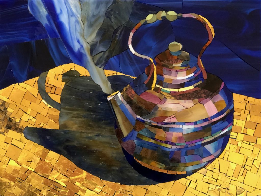 """One of Sider&squot;s mosaics, """"Steam,"""" is an example of the motion and depth that is in her work."""